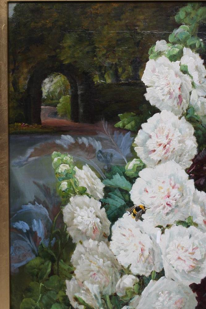 BRITISH SCHOOL (Late 19th Century), Hollyhocks in a Garden, oil on canvas, indistinctly signed J. - Image 2 of 2