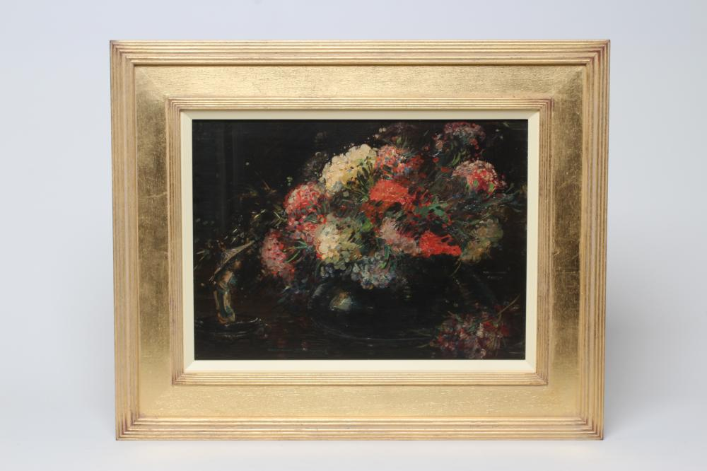 """KERSHAW SCHOFIELD (1872-1941), Still Life with Hydrangeas in a Vase, oil on board, signed, 13"""" x"""