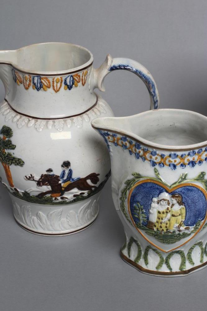 FOUR PRATTWARE JUGS, early 19th century, variously moulded in relief with a bust portrait of Nelson, - Image 4 of 4