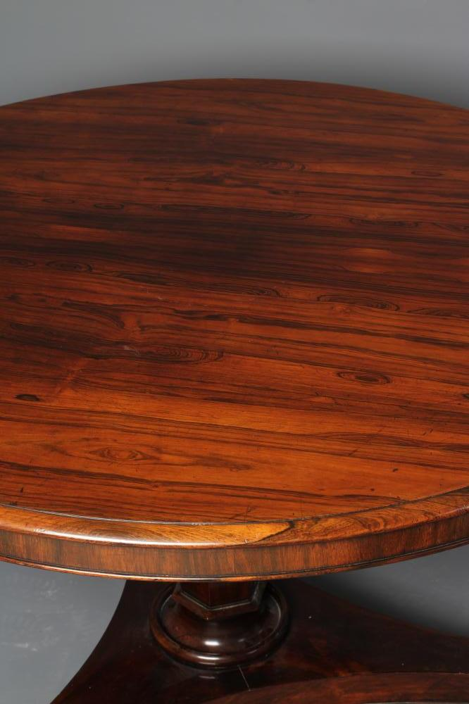 A VICTORIAN ROSEWOOD CENTRE TABLE, the tilt top with moulded edge and plain frieze raised on faceted - Image 2 of 3