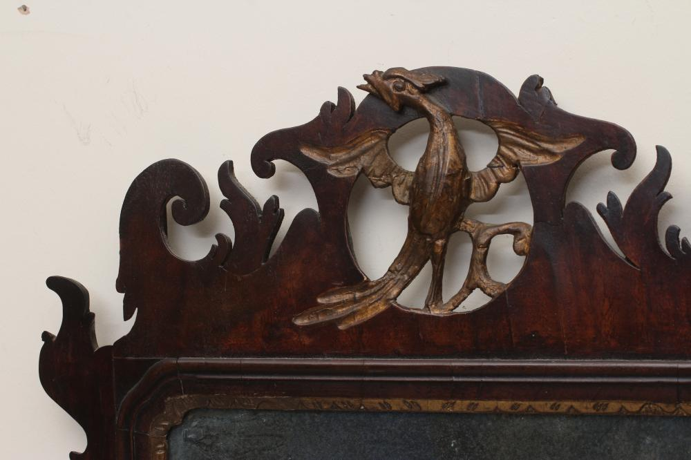 A GEORGIAN MAHOGANY FRET FRAMED PIER GLASS, mid 18th century, the oblong plate within a moulded - Image 2 of 2