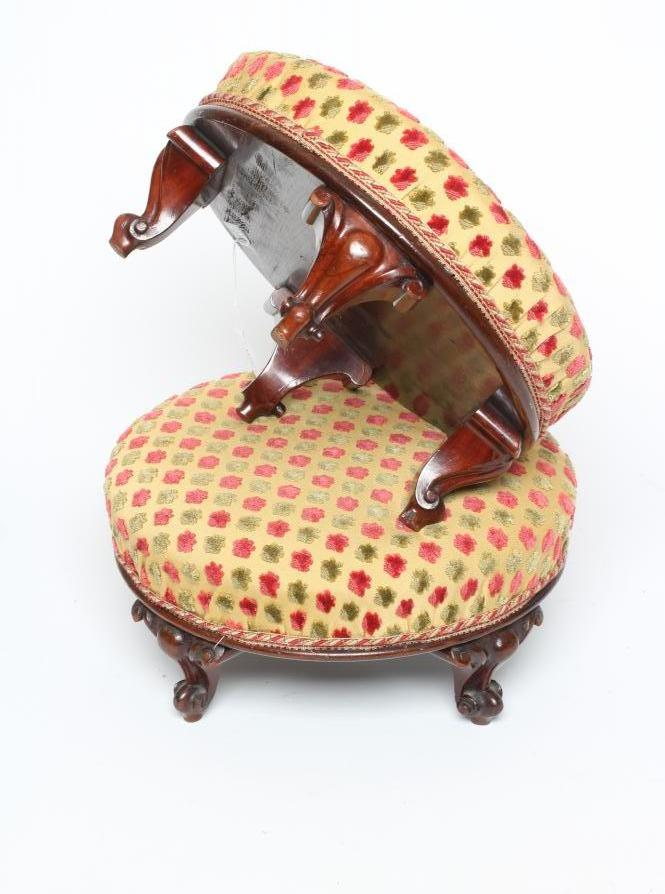 A PAIR OF VICTORIAN MAHOGANY FOOT STOOLS of circular form upholstered in pink, pale green and - Image 2 of 3