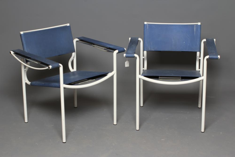 GIANDOMENICO BELOTTI FOR ALIAS, a pair of blue leather spaghetti armchairs with white tubular - Image 2 of 3