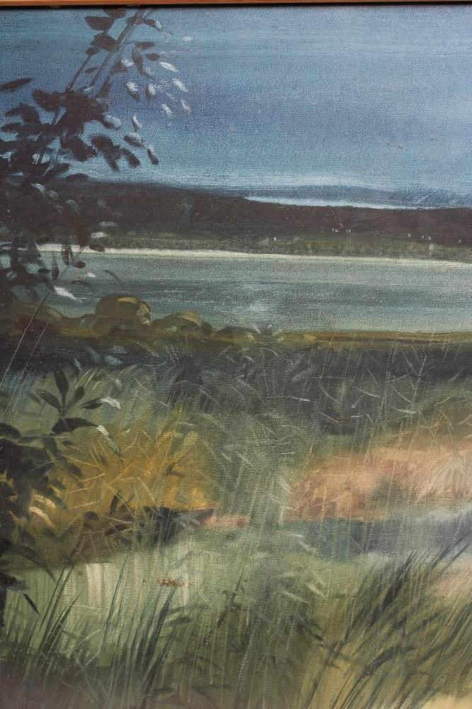 """DAVID WOOD (1937-2020), Evening Estuary, oil on canvas, signed, inscribed to reverse, 20"""" x 30"""", - Image 2 of 4"""