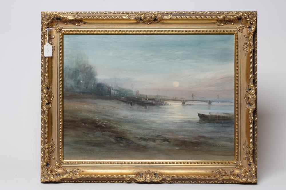 """JOHN BARRIE HASTE (1931-2011), Moonlit River Scene, oil on board, signed, 18"""" x 24 1/2"""", swept"""