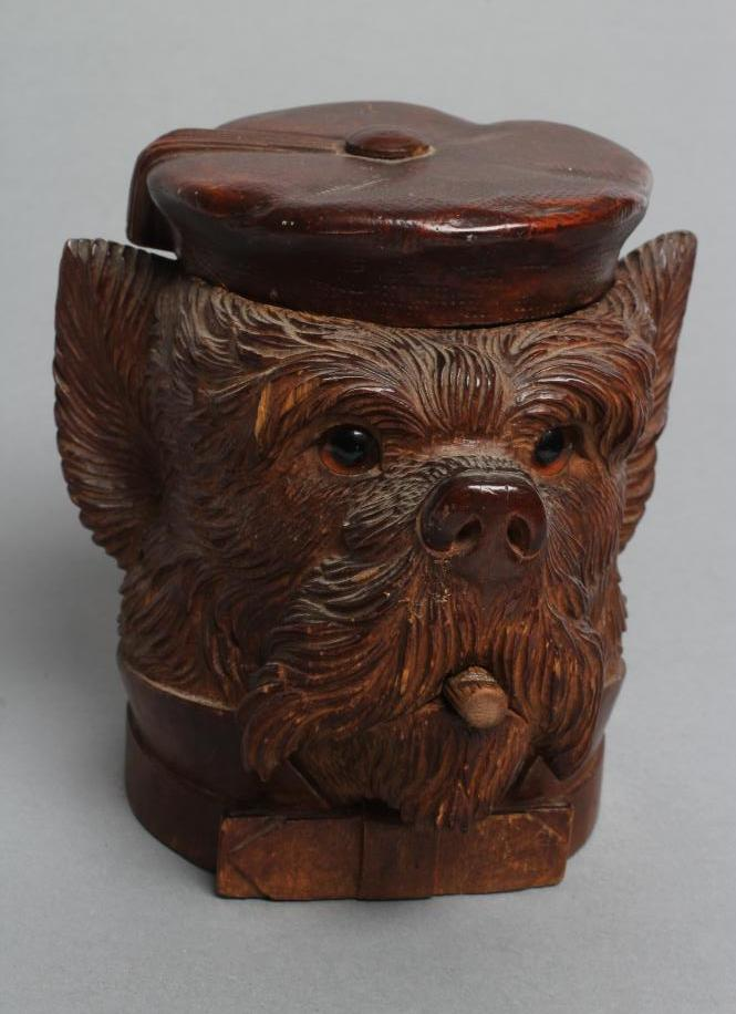 """A """"BLACK FOREST"""" CARVED WOOD TOBACCO JAR modelled as a smoking dog's head with glass eyes and hinged - Image 3 of 5"""