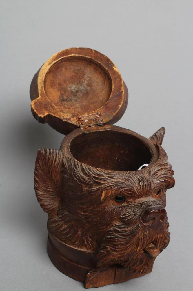 """A """"BLACK FOREST"""" CARVED WOOD TOBACCO JAR modelled as a smoking dog's head with glass eyes and hinged - Image 4 of 5"""