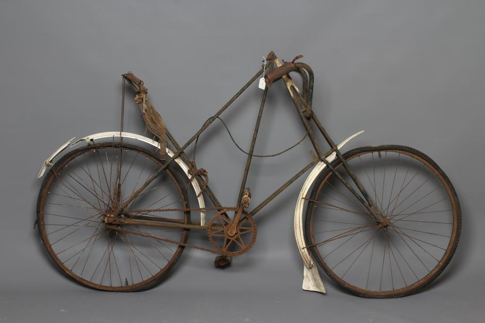 """A LISTER """"DURSLEY PEDERSEN"""" BICYCLE, c.1905, with duplex tubing and cord hammock saddle (Est. plus"""