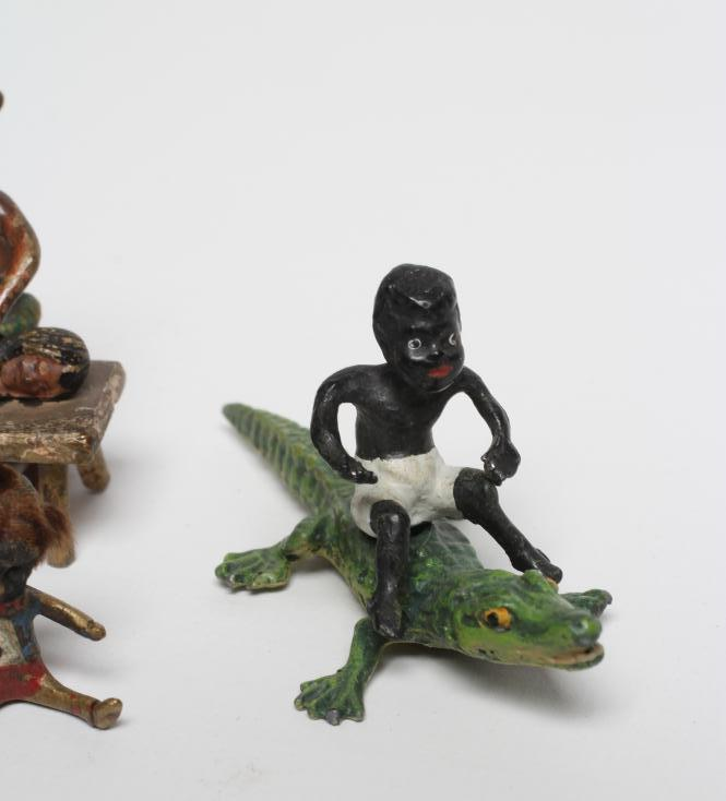 SIX VIENNA TYPE COLD PAINTED BRONZE MINIATURES, comprising a boy seated astride a crocodile, 2 1/ - Image 4 of 4