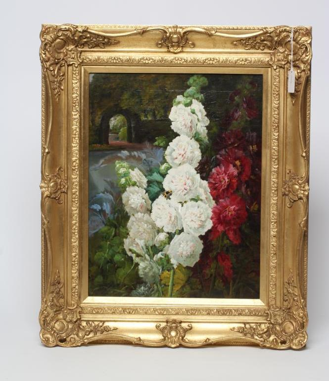 BRITISH SCHOOL (Late 19th Century), Hollyhocks in a Garden, oil on canvas, indistinctly signed J.