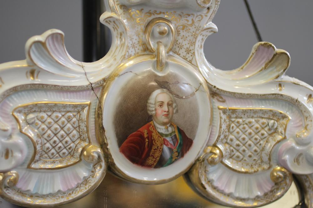 A LARGE GERMAN PORCELAIN MIRROR FRAME, mid 19th century, the typical rococo scrolls encrusted with - Image 2 of 5
