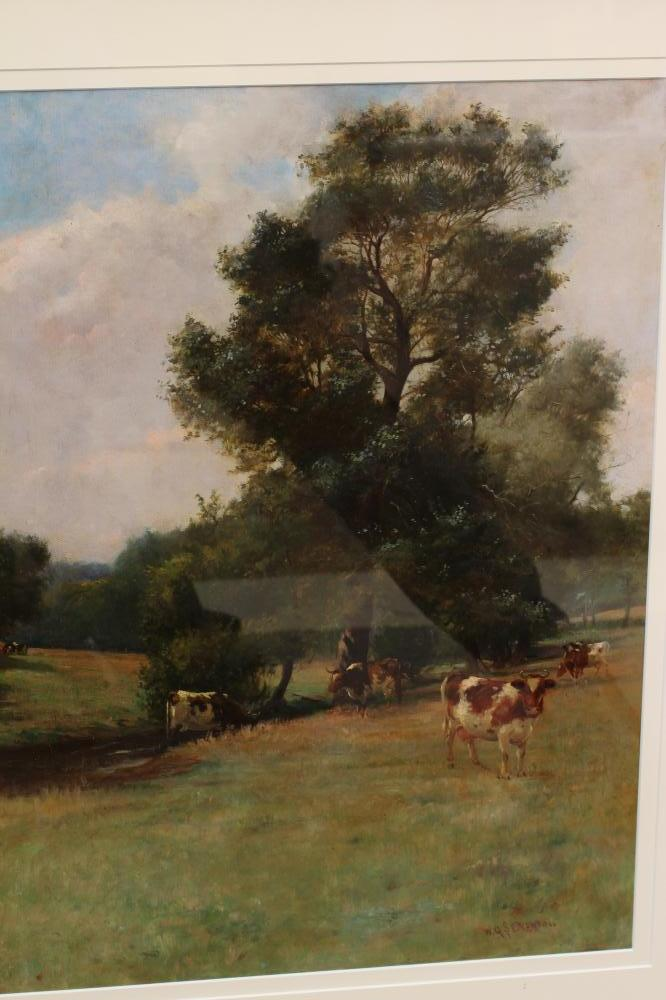 WILLIAM GRANT STEVENSON (1849-1919), Summer Landscape with Cattle Grazing, oil on canvas, signed, 23 - Image 2 of 4