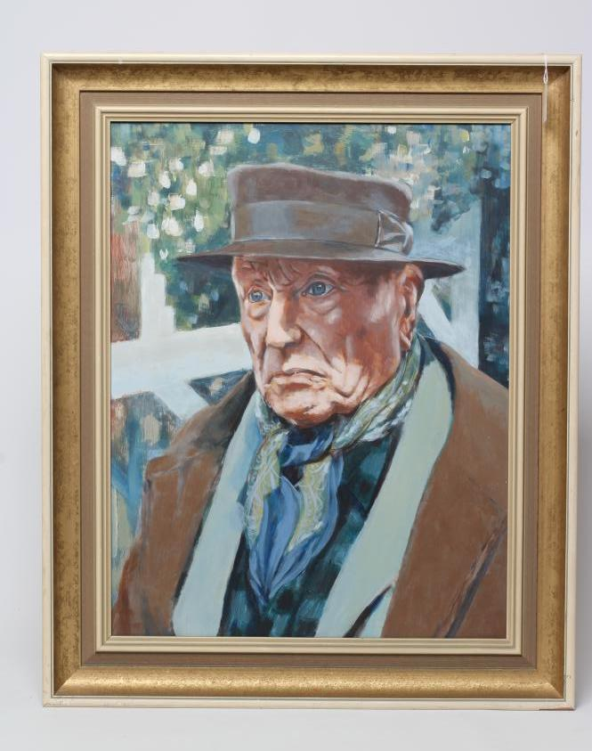 """H.S. WRIGHT (1926-2003), """"Vlaminck in Old Age"""", oil on board, signed and inscribed to reverse and"""