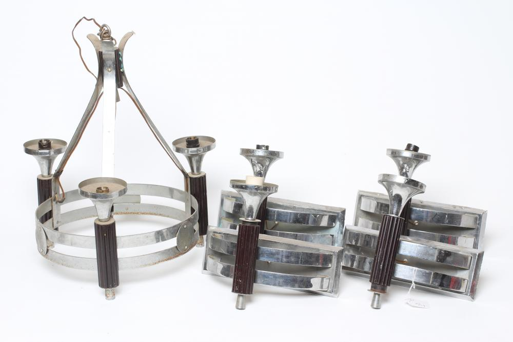 AN ART DECO LIGHT PENDANT in bakelite and plated chrome, the two bar circlet joined with roundels