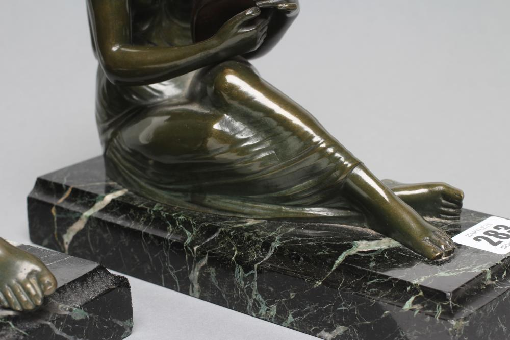 BY AND AFTER PIERRE LE FAGUAYS (1892-1962), a pair of Art Deco bronze figural bookends cast as a - Image 5 of 8