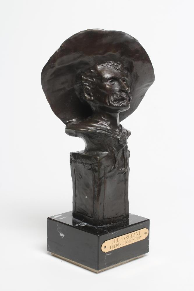 """ROY HARRIS AFTER FREDERIC REMINGTON (1861-1909), """"The Sargeant"""", signed bronze, dark brown - Image 2 of 5"""