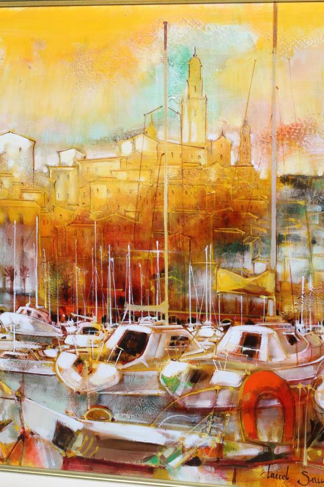 """CLAUDE SAUZET (b.1941), Harbour Scene with Moored Yachts, oil on canvas, signed, 20"""" x 24"""" gilt - Image 2 of 4"""