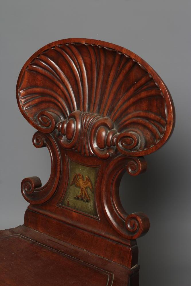 A REGENCY MAHOGANY HALL CHAIR in the manner of Gillow, the shell carved back of C scroll supports - Image 3 of 5