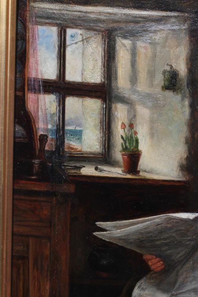 ALEXANDER DAVIDSON (1838-1887), Coastal Cottage Interior with Man Reading Newspaper, oil on - Image 3 of 5