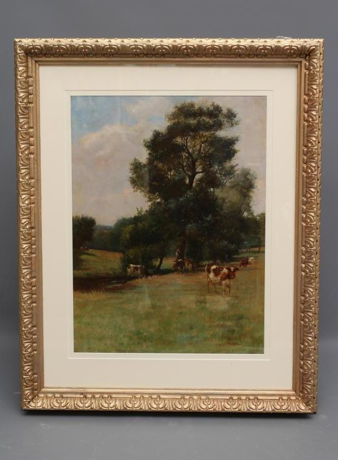 WILLIAM GRANT STEVENSON (1849-1919), Summer Landscape with Cattle Grazing, oil on canvas, signed, 23