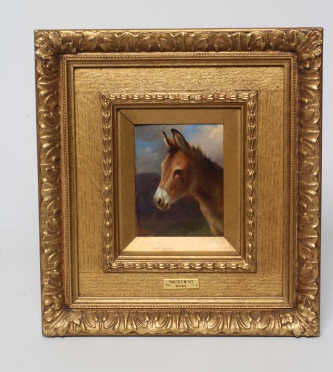 """ATTRIBUTED TO WALTER HUNT (1861-1941), """"Donkey"""", oil on board, unsigned, inscribed mount to frame,"""