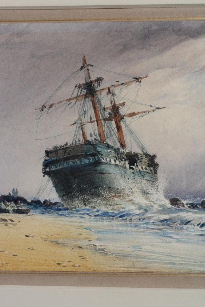 JOHN CALLOW (1822-1878), Shipping in Squally Seas and Beached Sailing Vessel, a pair, watercolour - Image 4 of 4