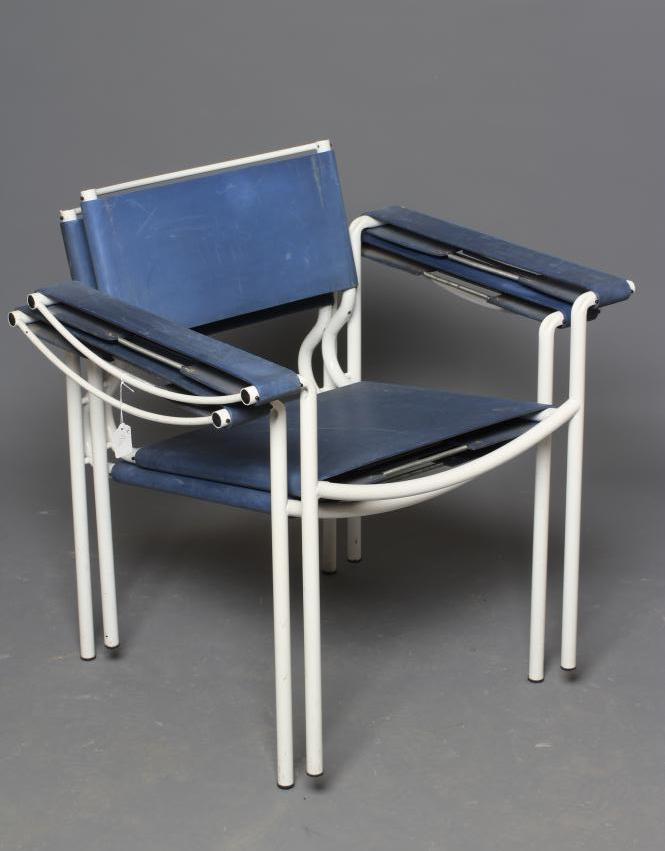 GIANDOMENICO BELOTTI FOR ALIAS, a pair of blue leather spaghetti armchairs with white tubular