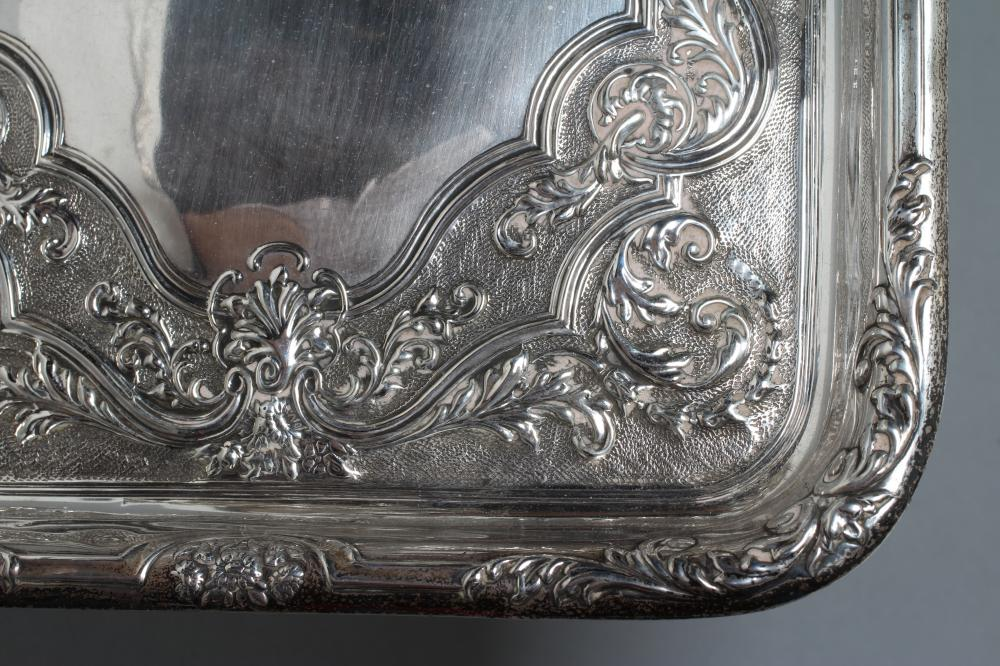 A SILVER DRESSING TABLE TRAY, maker Walker & Hall, Sheffield 1912, of plain rounded oblong form with - Image 2 of 2