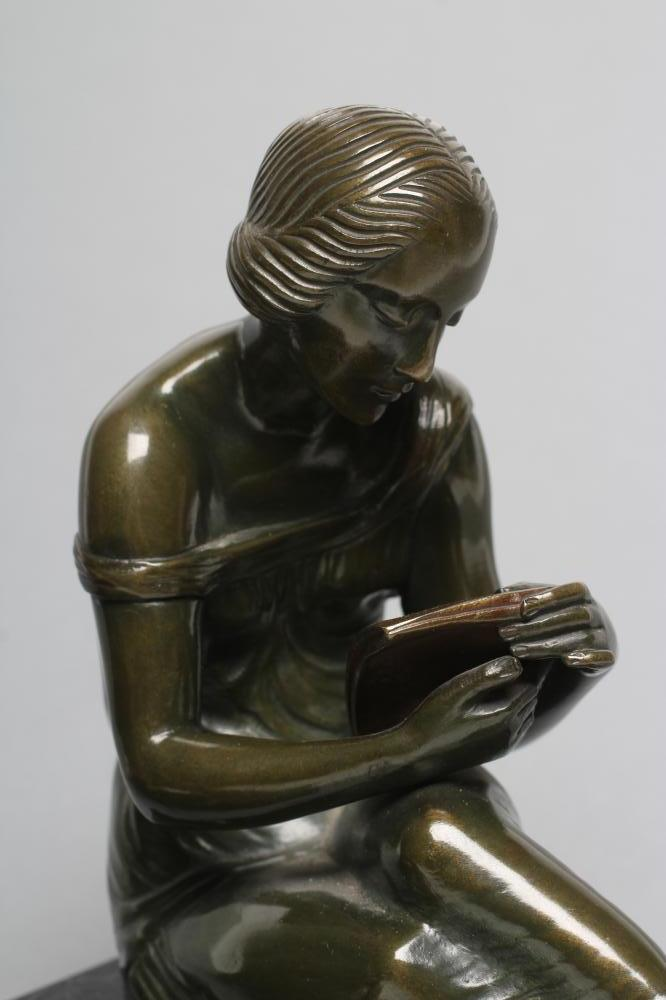 BY AND AFTER PIERRE LE FAGUAYS (1892-1962), a pair of Art Deco bronze figural bookends cast as a - Image 3 of 8