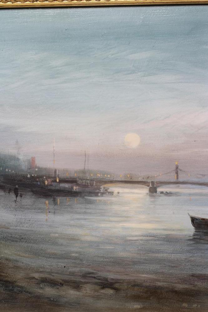 """JOHN BARRIE HASTE (1931-2011), Moonlit River Scene, oil on board, signed, 18"""" x 24 1/2"""", swept - Image 2 of 3"""