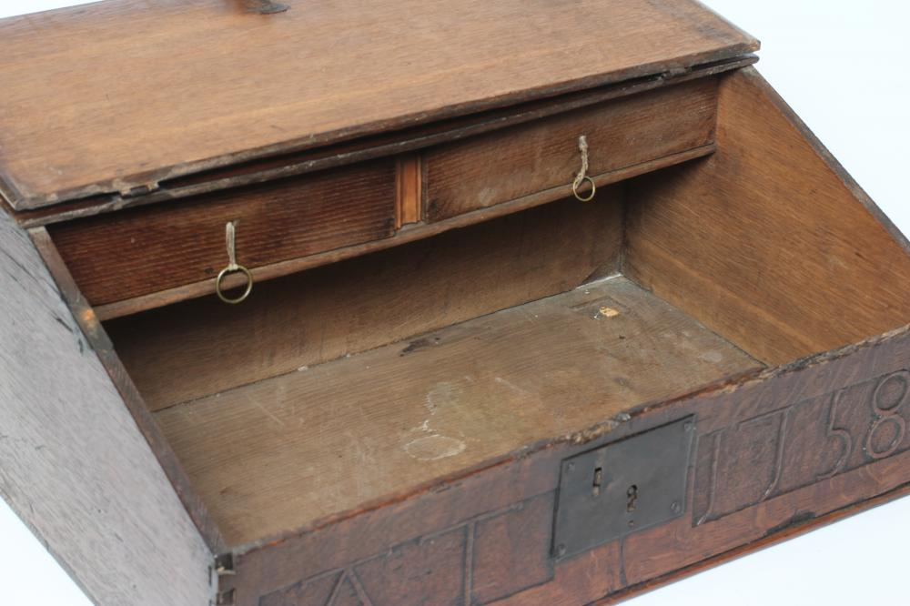 AN EBONY AND BRASS INLAID WRITING BOX, mid 19th century, of oblong form, the folding slope inlaid - Image 4 of 8