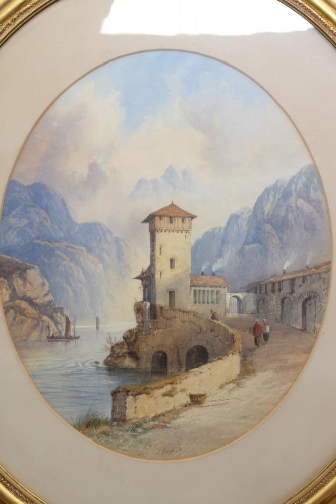 EDWIN EARP (1851-1945), Alpine Lake Scene, watercolour and pencil heightened with white, oval, - Image 2 of 4