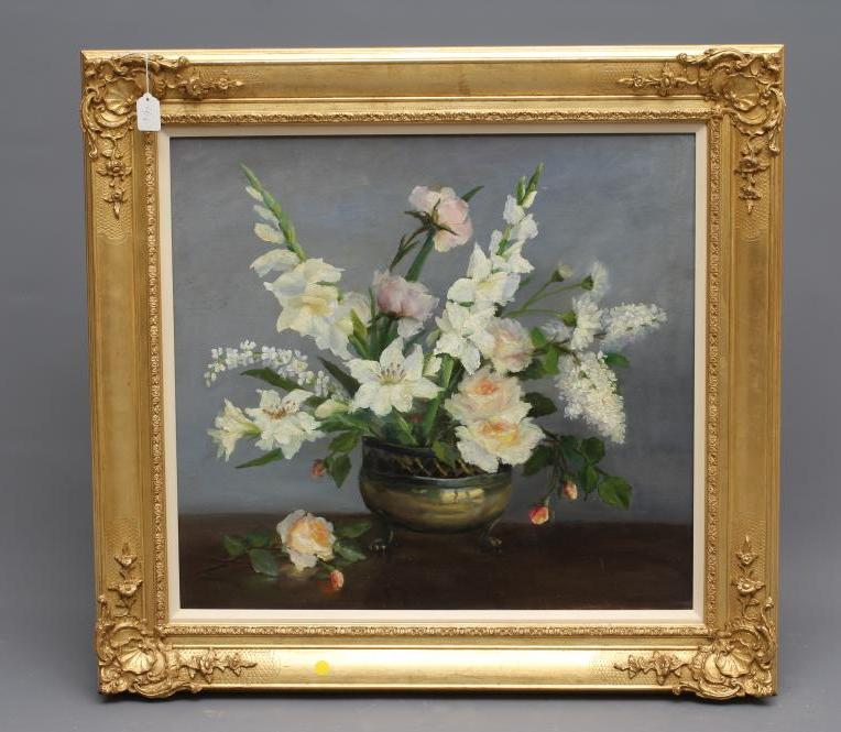 BRITISH SCHOOL (20th century), Still Life with Summer Flowers in a Brass Jardiniere, oil on board,