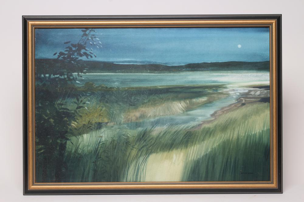 """DAVID WOOD (1937-2020), Evening Estuary, oil on canvas, signed, inscribed to reverse, 20"""" x 30"""","""