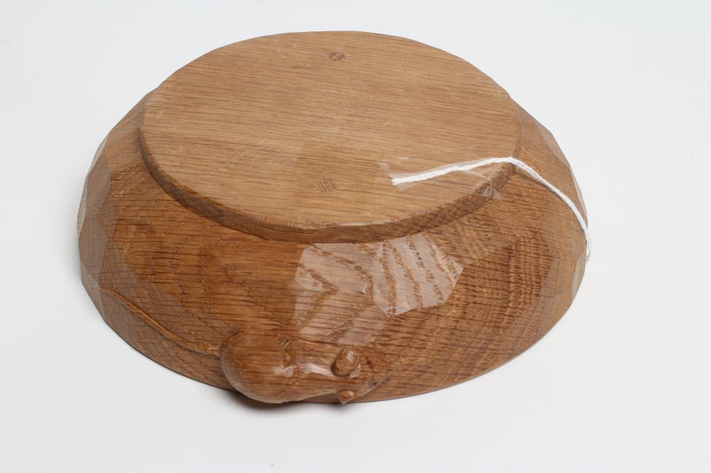 AN ADZED OAK NUT BOWL BY ROBERT THOMPSON, the shallow bowl with carved mouse trademark in high - Image 2 of 2