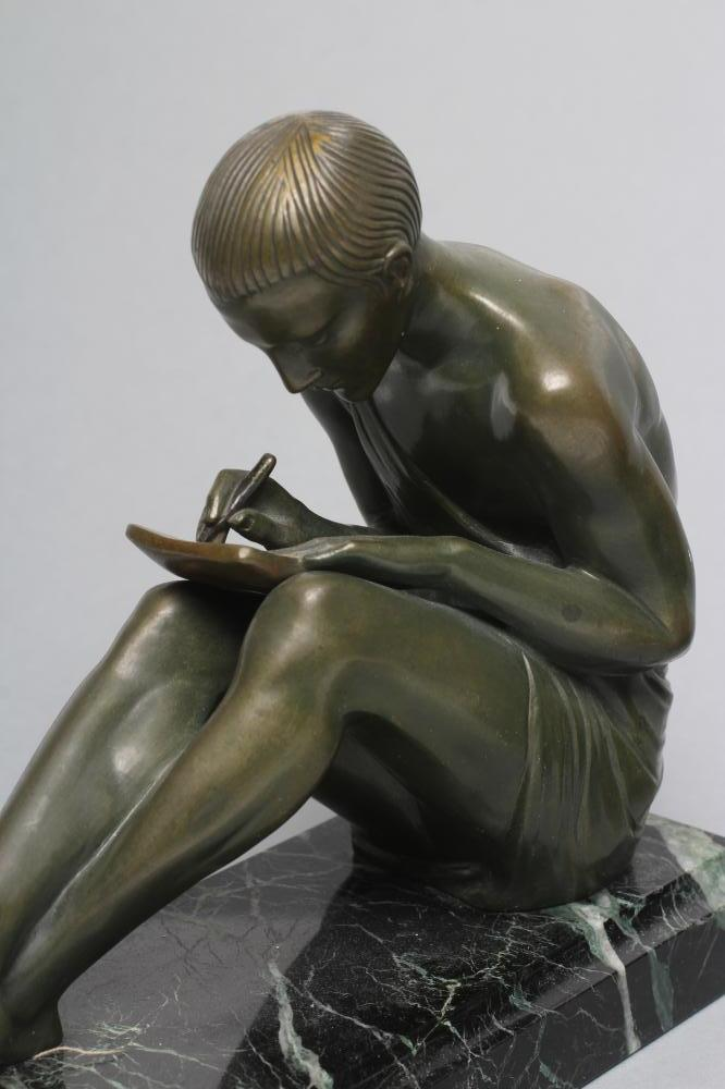 BY AND AFTER PIERRE LE FAGUAYS (1892-1962), a pair of Art Deco bronze figural bookends cast as a - Image 6 of 8