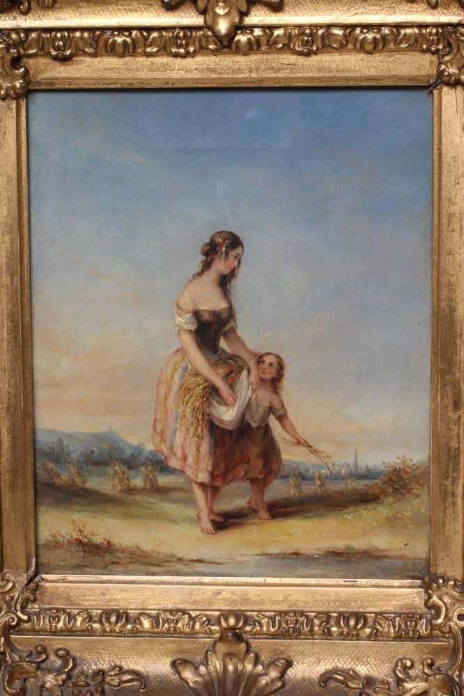 """BRITISH SCHOOL (19th Century), Young Female Harvester & Child, oil on canvas, unsigned, 10 1/4"""" x - Image 2 of 4"""