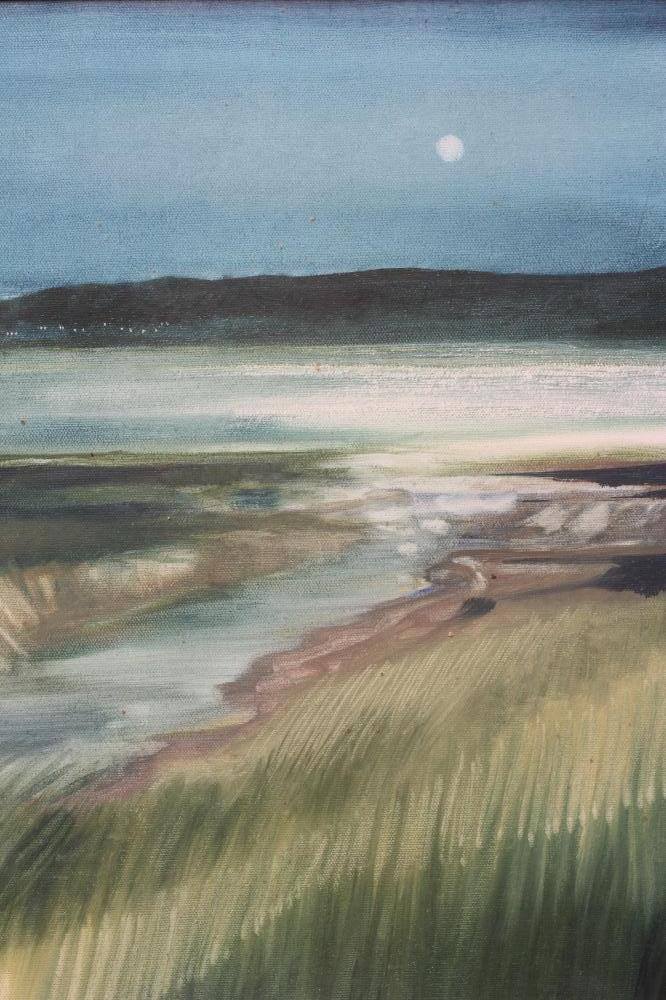 """DAVID WOOD (1937-2020), Evening Estuary, oil on canvas, signed, inscribed to reverse, 20"""" x 30"""", - Image 3 of 4"""