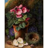 """OLIVER CLARE (1853-1927), Still Life with Flower Pot and Nest, oil on board, signed, 12"""" x 9 3/4"""","""