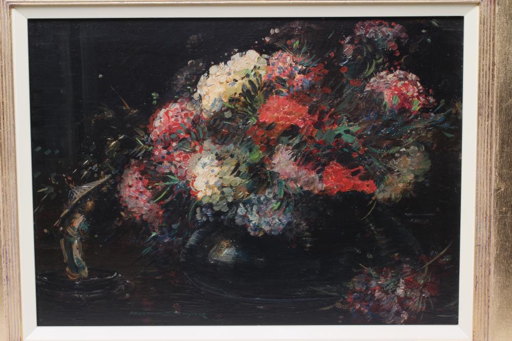 """KERSHAW SCHOFIELD (1872-1941), Still Life with Hydrangeas in a Vase, oil on board, signed, 13"""" x - Image 2 of 2"""