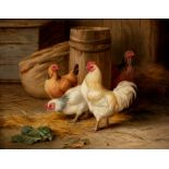 EDGAR HUNT (1876-1953), Chickens in a Barn, oil on board, signed and dated 1915, Haynes Fine Art