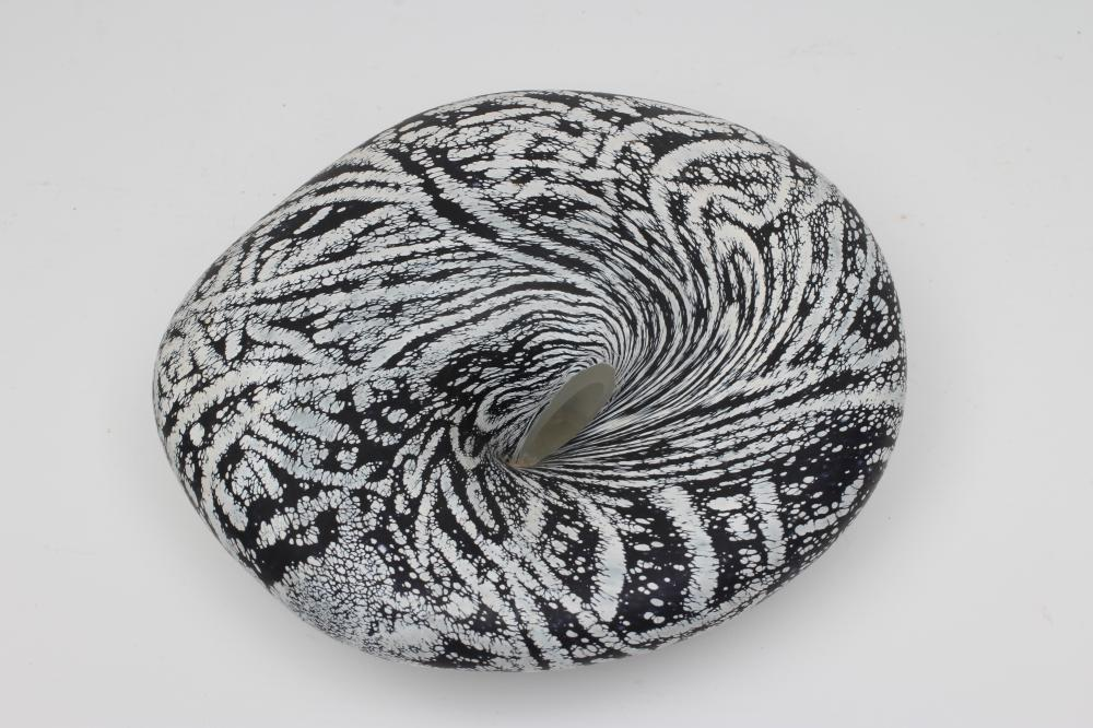 """A PETER LAYTON FROSTED GLASS """"BOWL"""" of organic pebble form with a dark blue ripple and mottled - Image 2 of 4"""