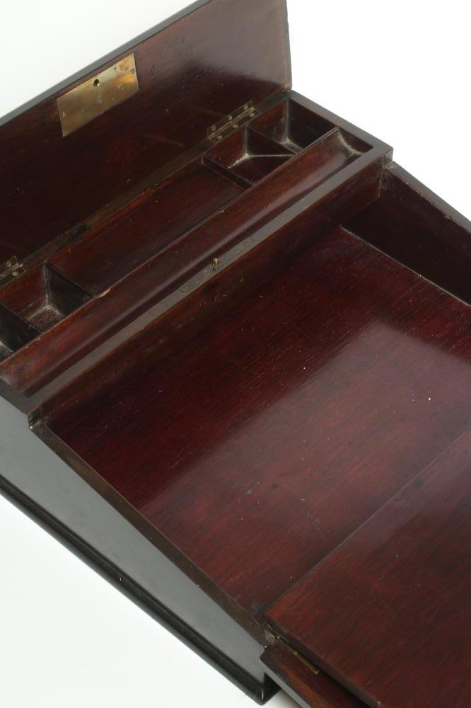 AN EBONY AND BRASS INLAID WRITING BOX, mid 19th century, of oblong form, the folding slope inlaid - Image 5 of 8