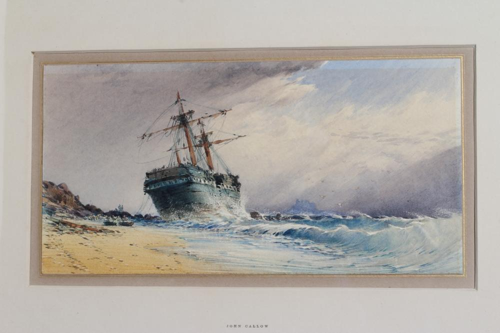 JOHN CALLOW (1822-1878), Shipping in Squally Seas and Beached Sailing Vessel, a pair, watercolour - Image 3 of 4