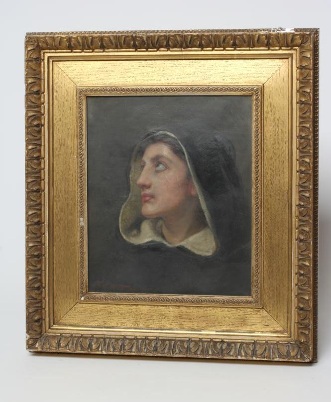 FRANK WILLIAM WARWICK TOPHAM (1838-1924), Bust Portrait of a Lady Praying, oil on canvas, signed