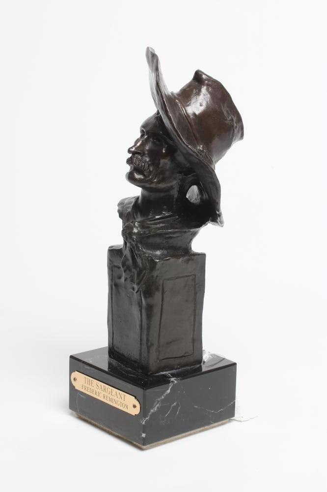 """ROY HARRIS AFTER FREDERIC REMINGTON (1861-1909), """"The Sargeant"""", signed bronze, dark brown - Image 3 of 5"""