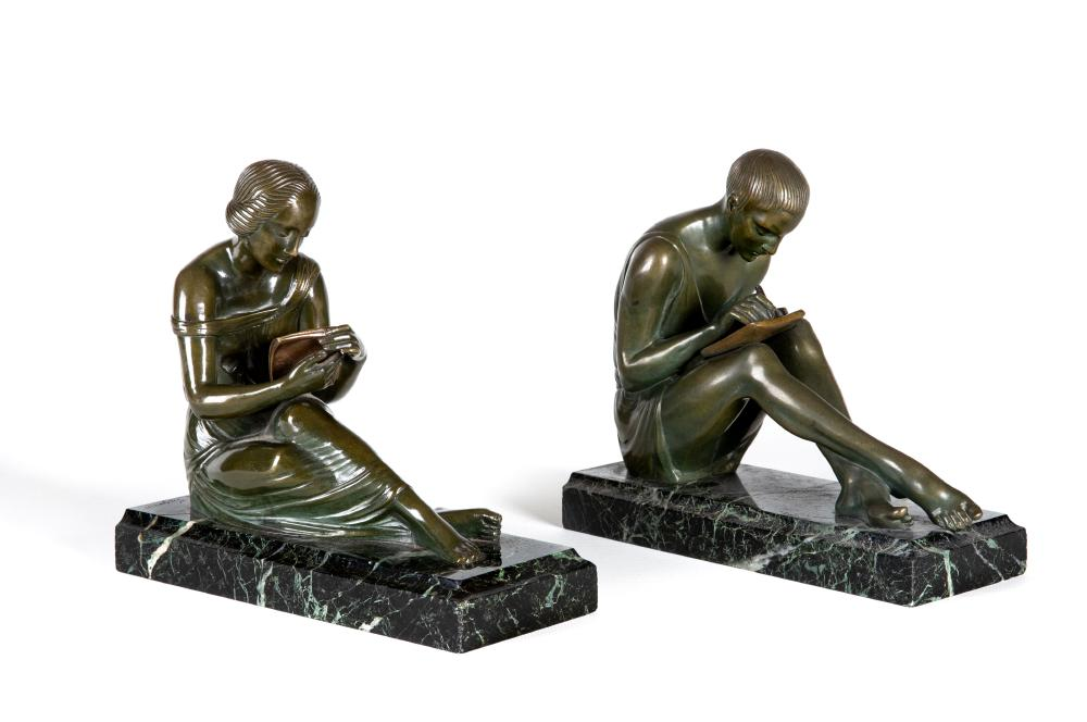 BY AND AFTER PIERRE LE FAGUAYS (1892-1962), a pair of Art Deco bronze figural bookends cast as a - Image 2 of 8