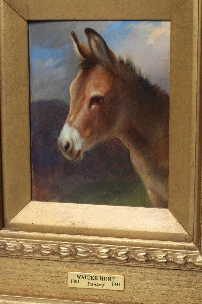 """ATTRIBUTED TO WALTER HUNT (1861-1941), """"Donkey"""", oil on board, unsigned, inscribed mount to frame, - Image 2 of 4"""