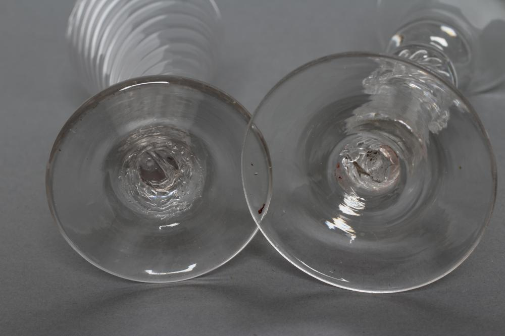 A CORDIAL GLASS, mid 18th century, the plain bell bowl on a single knopped inverted baluster stem - Image 4 of 4