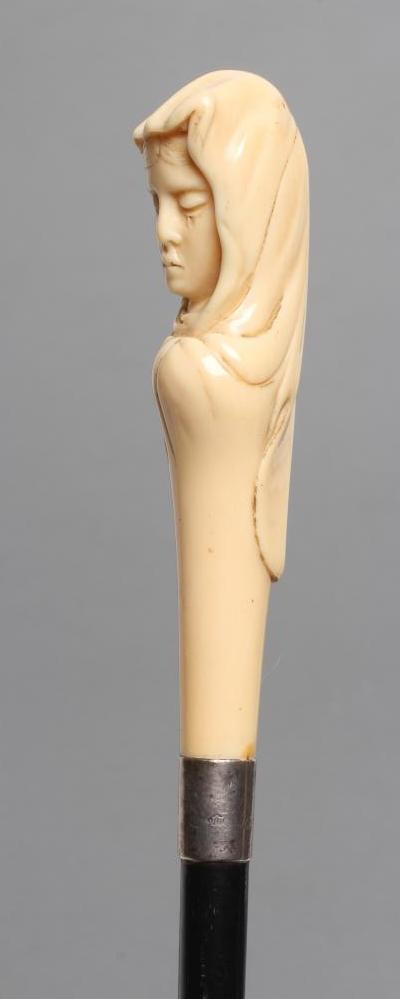 A LADY'S VICTORIAN WALKING CANE, the ivory grip carved as the head of a young maiden wearing a veil, - Image 2 of 4